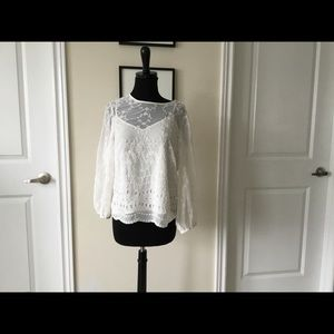 J crew embroidered blouse size small euc